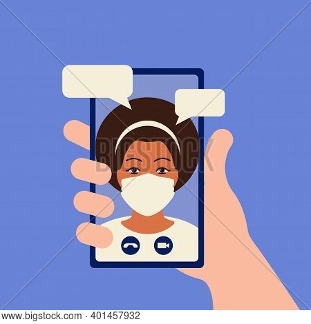 Video Call Concept. Video Chatting Online On Smartphone. Hand Holding Smartphone With Video Player W