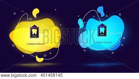 Black Clipboard With Dental Card Or Patient Medical Records Icon Isolated On Black Background. Denta