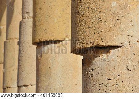 Close-up To Columns Of Ruined Greco-roman City Of Gerasa In Jerash, Jordan