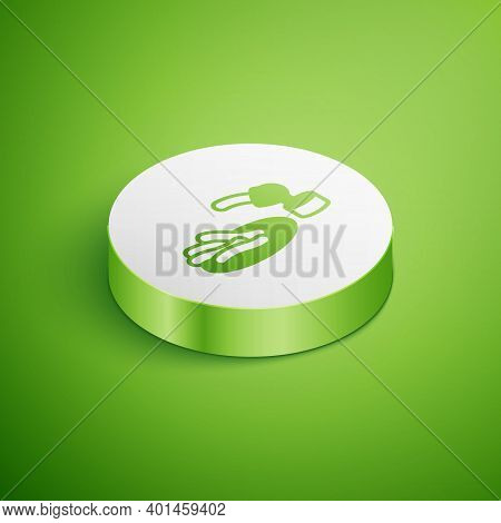 Isometric Churros And Chocolate Icon Isolated On Green Background. Traditional National Spain Desser