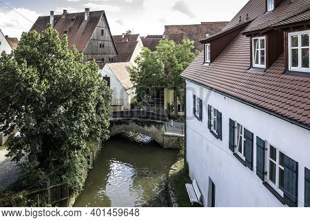 Lonely Little Bridge Across The River At The Medieval Old Town