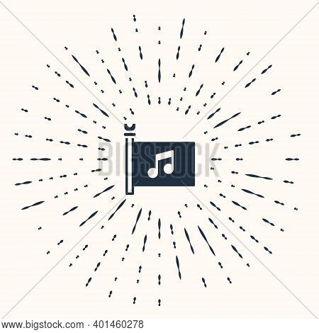 Grey Music Festival, Access, Flag, Music Note Icon Isolated On Beige Background. Abstract Circle Ran