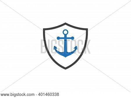 Anchor With Shield Logo Template Vector Icon Illustration. Simple Anchor Icon