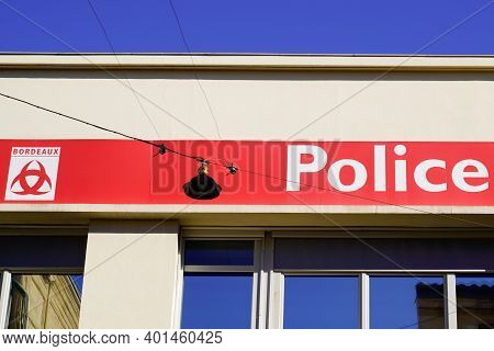 Bordeaux , Aquitaine  France - 12 28 2020 : Police Municipale Logo And Sign In French Bordeaux City
