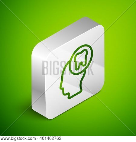 Isometric Line Human Head With Tooth Icon Isolated On Green Background. Tooth Symbol For Dentistry C