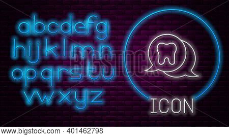 Glowing Neon Line Tooth Icon Isolated On Brick Wall Background. Tooth Symbol For Dentistry Clinic Or
