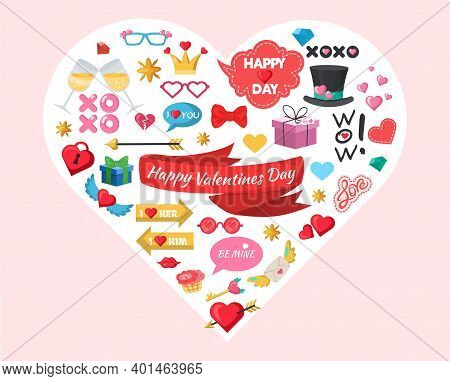 Happy Valentines Day Party Decoration, Celebration Accessories, Stickers, Photo Booth Props, Flat Ve