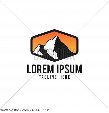 Mountain Vector Logo Template. Symbol For Nature Landscape Or Outdoor Adventure.