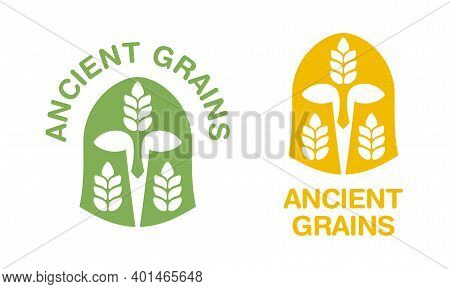 Ancient Grains Icon - Agricultural Term For Grain Categories With Association Of Ancient Greek Helme