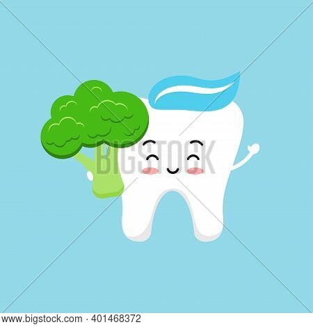 Cute Tooth With Broccoli. Strong Smile White Tooth With Vegetable Food For Dental Health. Children H