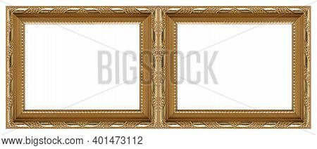 Double Golden Frame (diptych) For Paintings, Mirrors Or Photos Isolated On White Background. Design