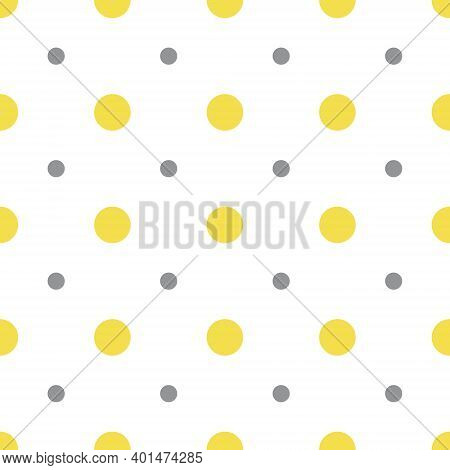 Illuminating Yellow And Ultimate Gray Seamless Polka Dot Pattern, Vector Illustration. Seamless Patt