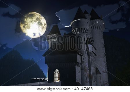 Fantasy Castle under Full Moon in the Mountains 3D render poster