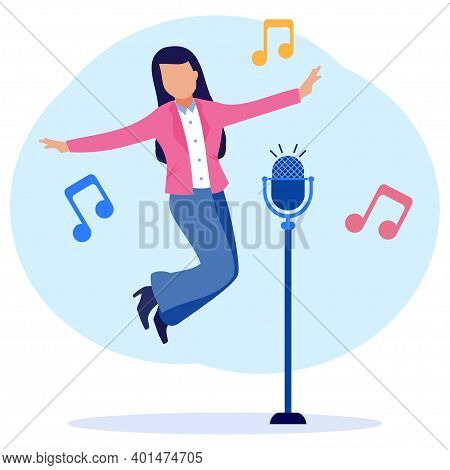 Flat Vector Illustration, Beautiful Woman Singing Song With Mic. Duet Talent Show, Karaoke Club Show