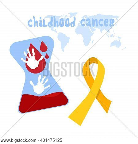 International Childhood Cancer Day.hourglass With Blood. Incurable Diseases.kids Handprints Are Hope