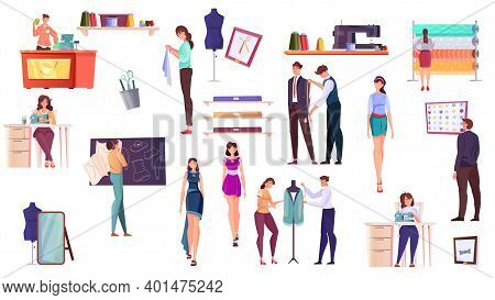 Tailoring Flat Icons Set Of Designer Dressmaker Seamstress Customer And Fashion Models Isolated Vect