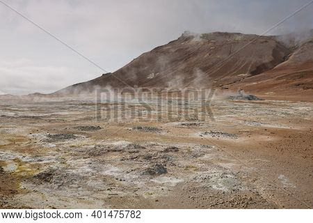 Námaskarð. Fumarole Field In Namafjall, Iceland. Namaskard Geothermal Beauty Landscape With Mud Pool