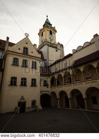 Inner Courtyard Patio Of Old Town Hall Stara Radnica At Main Square Hlavne Namestie In Historical Ce