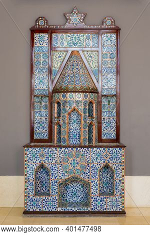 Old Ottoman Era Style Castle Shaped Fireplace, Decorated With Floral Patterns Ceramic Tiles From Tur