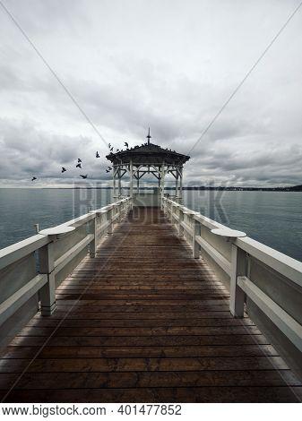 Lakeside Waterfront Esplanade Pavilion Gazebo Elevated On Wooden Pier Stilts In Lake Constance Boden