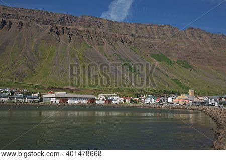 Traditional Style Houses That Overlook The Tungata Square In Beautiful Town Of Isafjordur In Iceland