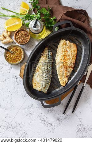 Grilled Baked Mackerel With Ginger Mustard Honey Sauce On A Marble Table Top. Top View Flat Lay. Cop