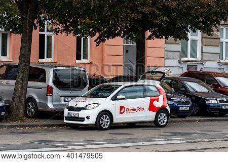 Brno, Czech Republic - September 17, 2019: Skoda Citigo Car Of Dame Jidlo Company Which Delivers Foo