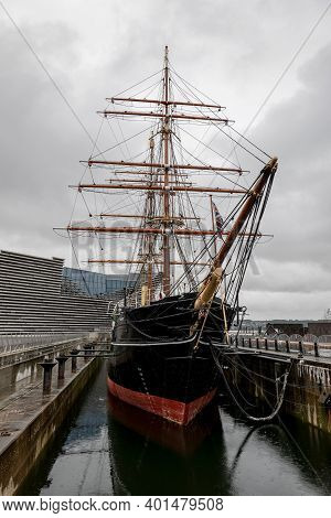 Dundee, Scotland - August 11, 2019: Rrs Discovery Steamship Used For Antarctica Research Which Is Di