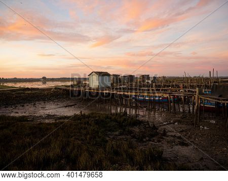 Panoramic View Of Wooden Pier On Stilts Boat Dock Wharf Port Harbour Cais Palafitico Da Carrasqueira
