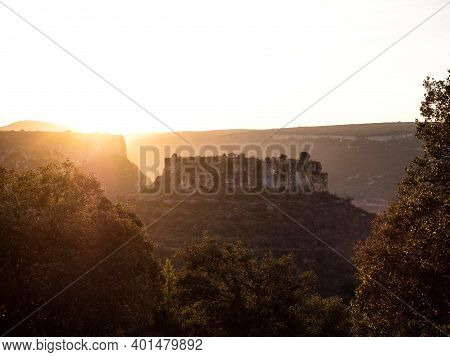 Cabin House Hut On Conical Shape Mountain At Canyon Canion Canon Del Ebro River Valley Between Valde