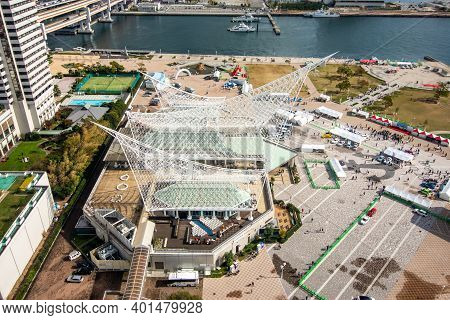 Kobe / Japan - November 11, 2017: Kobe Port Area With Meriken Park And Kobe Maritime Museum, Aerial