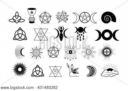 A Set Of Esoteric Elements.tattoo Alchemy And Spiritual, Witchcraft Magician And Occult.