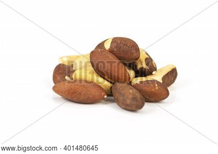 Brazil Nut Bertholletia Excelsa On A White Background, Isolated.