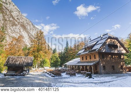 Triglav National Park, Slovenia, October 2020: Guest House Near The Savica Waterfall Of The Alps