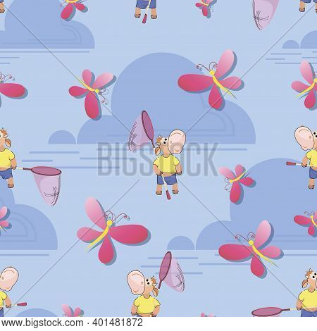 Cute Calf. Catching Butterflies. Network. Seamless Patterns. Design Of Childrens Tshirts, Textiles,
