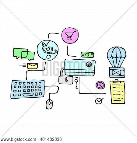 Modern Flat Thin Line Design Vector Illustration, Concept Of Digital Marketing, Internet Marketing I