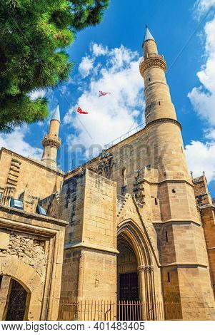 Selimiye Mosque Or Cathedral Of Saint Sophia Or Ayasofya Mosque Building With Minarets In North Nico