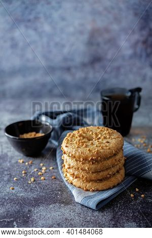 Fresh Sweet Shortbread Cookies With Peanuts On A Background