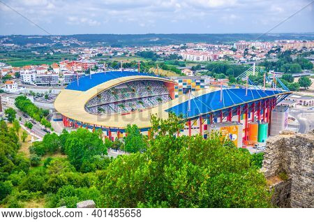 Leiria, Portugal, June 22, 2017: Estadio Dr. Magalhaes Pessoa Football Stadium Building Top Aerial V