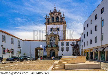 Braga, Portugal, June 24, 2017: Capela Da Nossa Senhora Da Torre Tower In Braga City Historical Cent