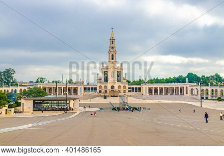 Fatima, Portugal, June 22, 2017: Sanctuary Of Our Lady Of Fatima With Basilica Of Our Lady Of The Ro