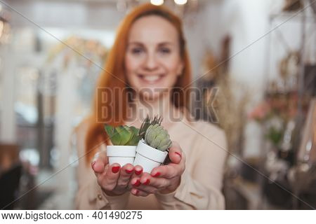 Selective Focus On Small Succulents In Pots In The Hands Of Cheerful Woman. Lovely Happy Woman Buyin