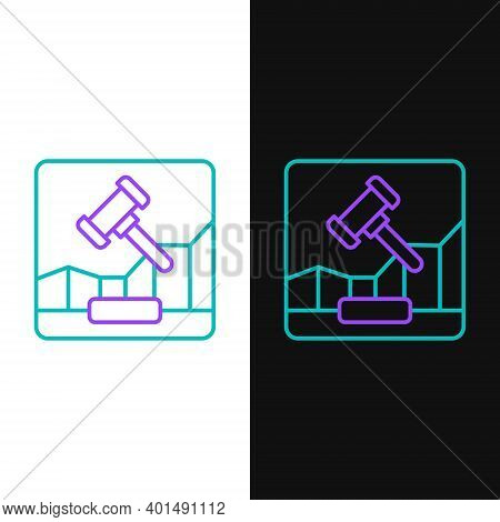 Line Online Internet Auction Icon Isolated On White And Black Background. International Trade Concep