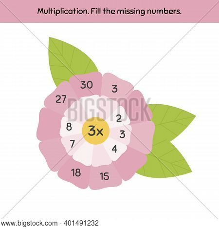Math Game On A Multiplication For Preschool And School Age Children. Fill The Missing Numbers. Flowe