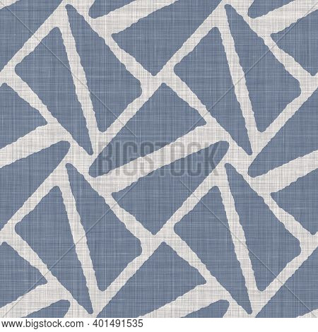 Seamless French Farmhouse Linen Geometric Block Print Background. Provence Blue Gray Rustic Pattern