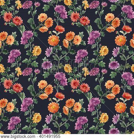 Beautiful Seamless Floral Pattern With Watercolor Gentle Blooming Chrysanthemum Flowers. Stock Illus