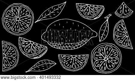 Fruit Lemon Hand Drawing. Set Of Whole And Slice, And Quarter Of Lemon. White Contour Of Fruit On Bl
