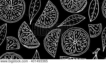 Seamless Pattern. Slice And Quarter Of Lemon Fruit And Leaves On Black Background. Vector Illustrati
