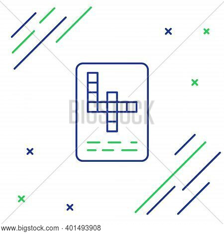 Line Crossword Icon Isolated On White Background. Colorful Outline Concept. Vector