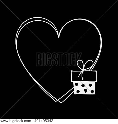 Heart Frame With Giftbox. Valentines Or Wedding Day Template. Love Greeting Card. Black And White Do